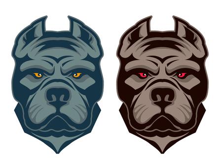 Illustrazione per Pit bull mascot. Design element , label, emblem, sign, badge. Vector illustration. - Immagini Royalty Free