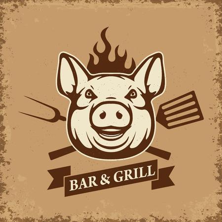 Ilustración de Bar and grill. Pig head with kitchen tools on grunge background. Design element for restaurant menu, poster. BBQ invitation card. Vector illustration. - Imagen libre de derechos
