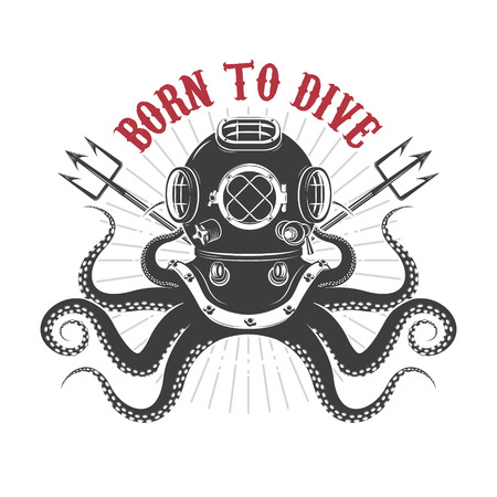 Illustrazione per Born to dive. octopus with diver helmet and two tridents. Template for t-shirt print. Vector illustration. - Immagini Royalty Free