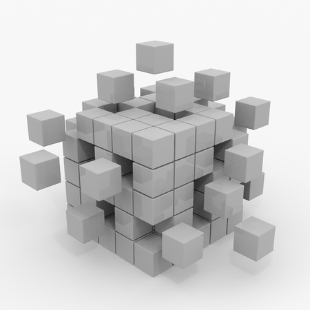 Foto per Cube assembling from blocks. Computer generated image. - Immagine Royalty Free