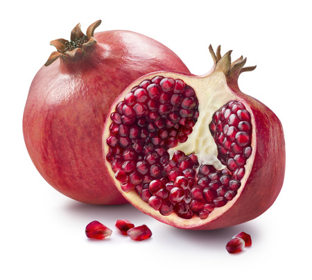 Photo pour Whole, half and seeds of pomegranate isolated on white background for package design - image libre de droit