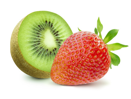 Foto de Half of kiwi and strawberry isolated on white background as package design elements - Imagen libre de derechos