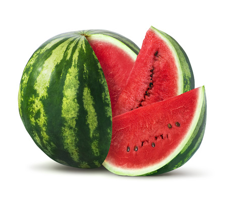 Photo pour Watermelon and slices isolated on white background as package design element - image libre de droit