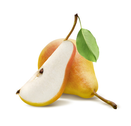 Photo pour One fresh pear and quarter piece isolated on white background - image libre de droit