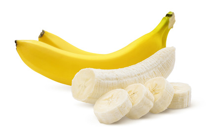 Photo pour Two bananas and pieces isolated on white background as package design element - image libre de droit