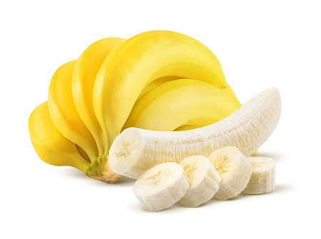 Photo pour Banana bunch and peeled pieces isolated on white background as package design element - image libre de droit