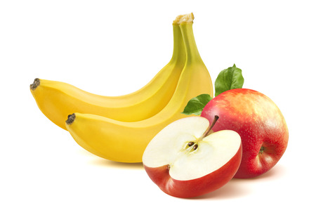 Photo for Banana and apple isolated on white background as package design element - Royalty Free Image