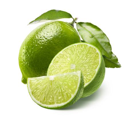 Foto de Whole lime, half and quarter slice isolated on white background as package design element - Imagen libre de derechos