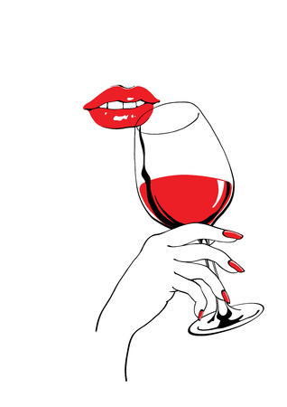 Illustration pour Calm red lips and glass of wine  holding hand vector illustration for party poster design - image libre de droit