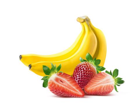 Foto de Banana strawberry composition isolated on white background as package design element - Imagen libre de derechos