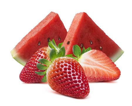 Foto de Watermelon slices and strawberry isolated on white background as package design element - Imagen libre de derechos
