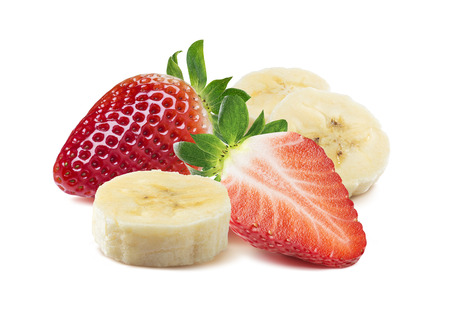 Photo pour Whole and half strawberry, banana pieces square composition isolated on white as package design element - image libre de droit