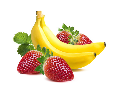 Foto de Two bananas strawberry square composition isolated on white background as package design element - Imagen libre de derechos