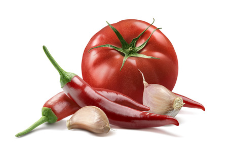 Photo pour Tomato, garlic cloves, red hot chili pepper isolated on white background as package design element - image libre de droit