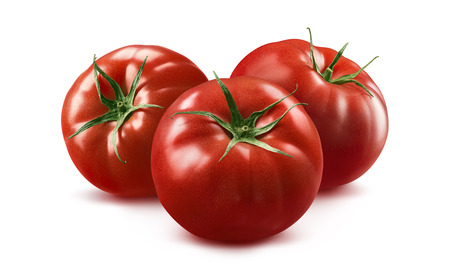 Photo pour 3 tomato horizontal composition isolated on white background as package design element - image libre de droit