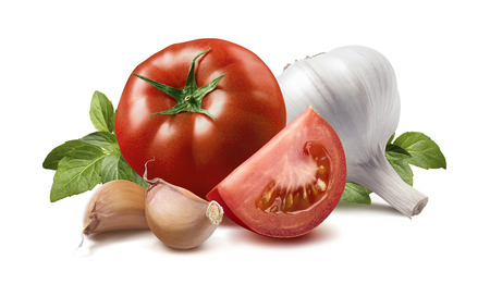 Photo pour Tomato, basil leaves, garlic cloves isolated on white background as package design element - image libre de droit