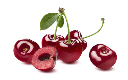 Photo for Sweet cherry horizontal composition isolated on white background as package design element - Royalty Free Image