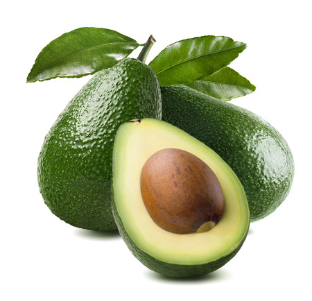 Foto de 3 avocado cut half seed leaves isolated on white background as package design element - Imagen libre de derechos