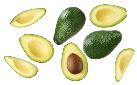 Photo for Avocado pieces set isolated on white background as package design element - Royalty Free Image
