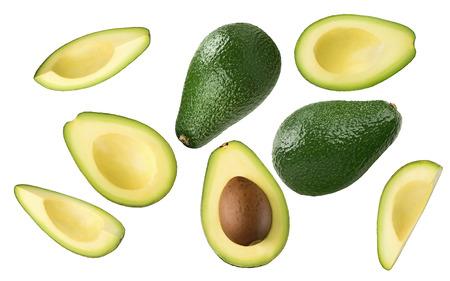 Foto de Avocado pieces set isolated on white background as package design element - Imagen libre de derechos