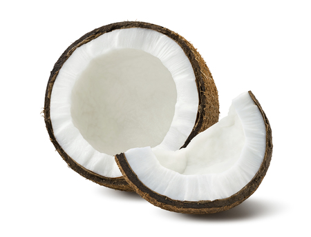 Photo for Coconut pieces broken isolated on white background as package design element - Royalty Free Image