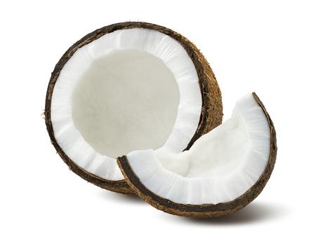Foto de Coconut pieces broken isolated on white background as package design element - Imagen libre de derechos