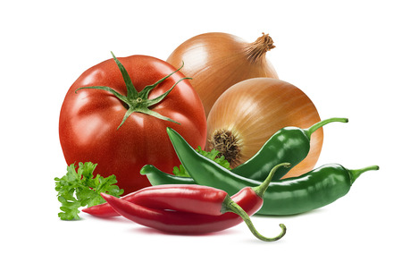 Photo pour Mexican vegetables set tomato onion chili pepper parsley isolated on white background as package design element - image libre de droit