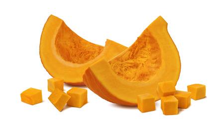 Foto de Pumpkin segment pieces cubes 2 isolated on white background as package design element - Imagen libre de derechos