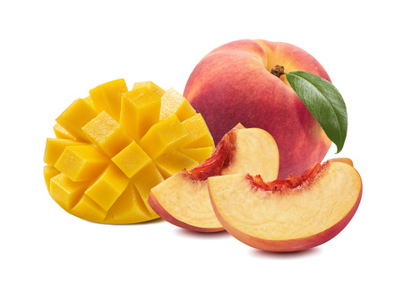 Foto de Mango peach whole slices fruit isolated on white background as package design element - Imagen libre de derechos