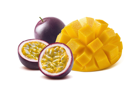 Photo for Mango cut maraquia passion fruit isolated on white background as package design element - Royalty Free Image