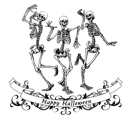 Ilustración de Happy halloween dancing skeletons isolated vector illustration, contour graphics for posters and banners - Imagen libre de derechos