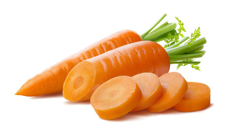 Foto de Fresh carrot and cut pieces isolated on white background as package design element - Imagen libre de derechos