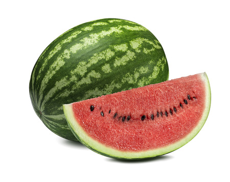 Photo for Whole watermelon and big slice isolated on white background as package design element - Royalty Free Image