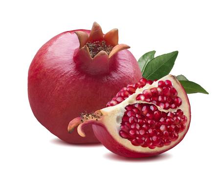 Photo pour Whole pomegranate quarter piece composition isolated on white background - image libre de droit