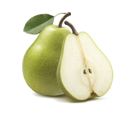 Photo pour Fresh green pear half isolated on white background as package design element - image libre de droit