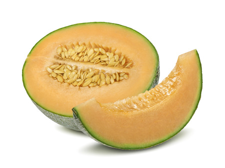 Photo for Cantaloupe melon half and pieces isolated on white background as package design element - Royalty Free Image