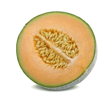 Foto de Cantaloupe melon half split isolated on white background - Imagen libre de derechos