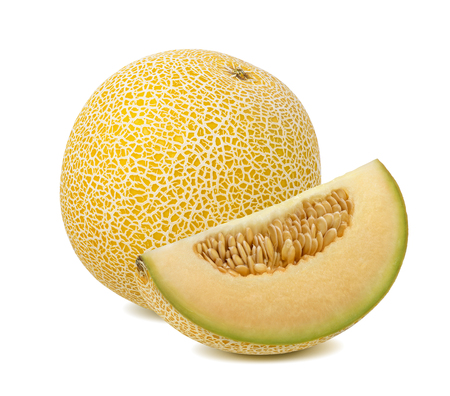 Foto de Yellow galia melon, whole and quarter piece, isolated on white background - Imagen libre de derechos