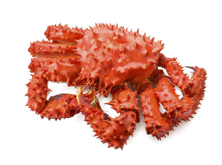 Photo pour Whole red king crab isolated on white background as package design element - image libre de droit