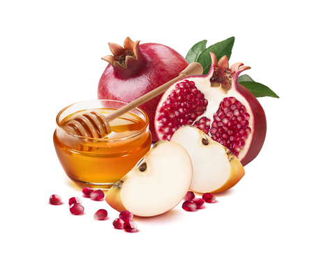 Photo pour Red apple, pomegranate and honey jar for Jewish New Year isolated on white background for poster design - image libre de droit