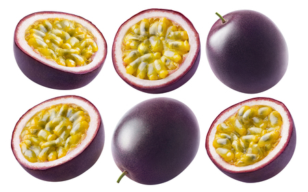 Foto de Passion fruit set isolated on white background as package design element - Imagen libre de derechos