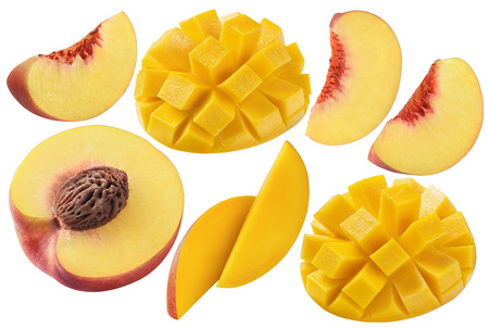 Photo for Peach mango set isolated on white background as package design elements - Royalty Free Image