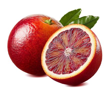 Foto de Red blood orange and half with leaf isolated on white background as package design element - Imagen libre de derechos