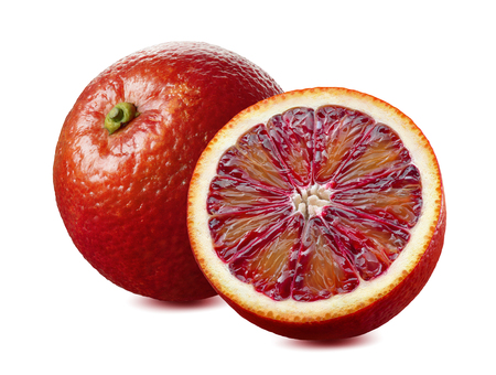 Foto de Whole red blood orange and half isolated on white background as package design element - Imagen libre de derechos