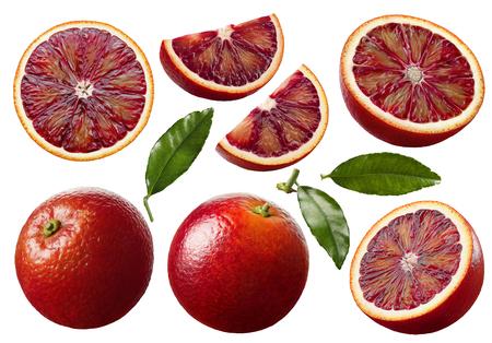Foto de Red blood orange fruit slices set isolated on white background as package design elements - Imagen libre de derechos