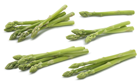 Photo pour Green raw asparagus set 2 isolated on white background - image libre de droit