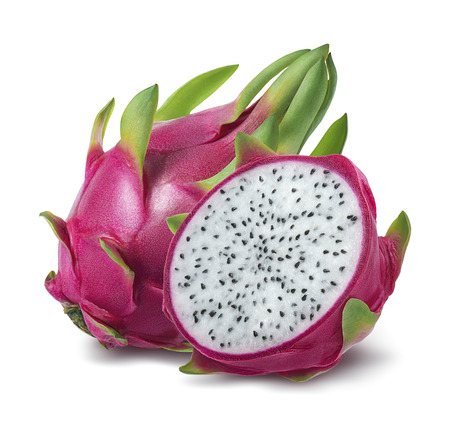 Foto de Dragon fruit or pitahaya isolated on white background as package design element - Imagen libre de derechos