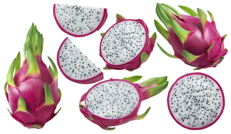 Foto de Dragon fruit or pitaya pieces set isolated on white background as package design element - Imagen libre de derechos
