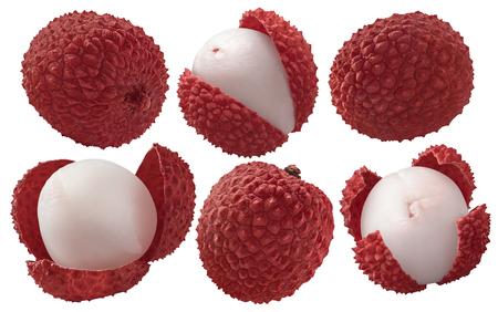 Foto de Fresh lychee set isolated on white background as package design elements - Imagen libre de derechos
