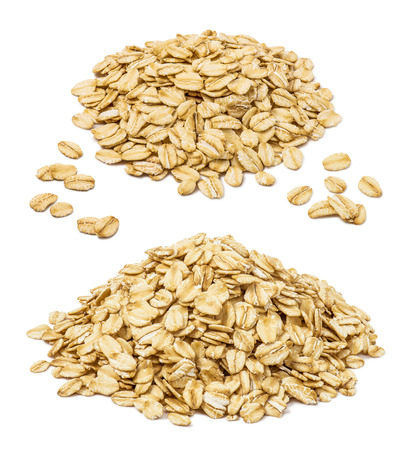 Photo for Rooled oat flakes pile set isolated on white background. Oatmeal elements for package design - Royalty Free Image